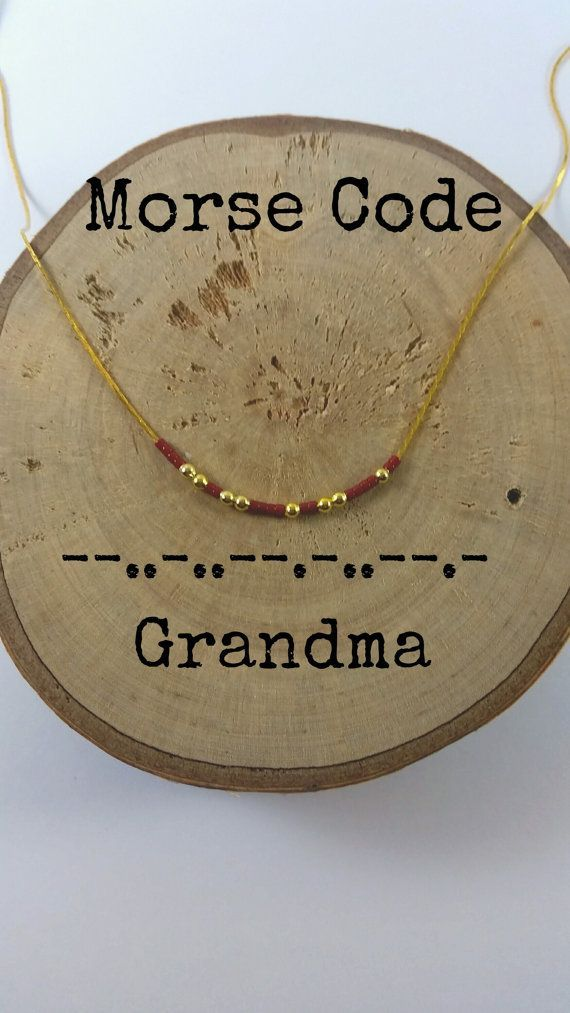 This dainty morse code necklace spell out GRANDMA. Gold plated beads and tiny crystal beads are used as dots and dashes. Its the perfect gift to express your feelings or how much the other person means to you.  Very cute and simple.  Lobster clasp end.  The order includes:  - 1 morse code necklace GRANDMA  - 1 card with your secret message.  There are multiple colors. Choose the one you like!!(The colors of the main picture are royal blue and turquoise)   Available; - lengths : 14( aprox. 36…