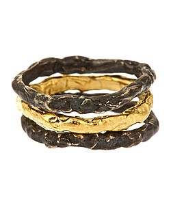 Etoile Textured Band Stacking Rings in Black and Gold: Vermeil Band, Band Stacking, Three Rings, Etoile Textured, Stacking Rings, Black Sterling, Gold Vermeil, Silver Bands