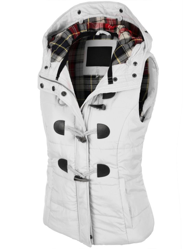 Keep yourself cozy and well protected in this classic toggle Padded puffer plaid jacket vest with faux fur trim hood. Offering maximum comfort through out the entire day, this puffer vest goes well wi