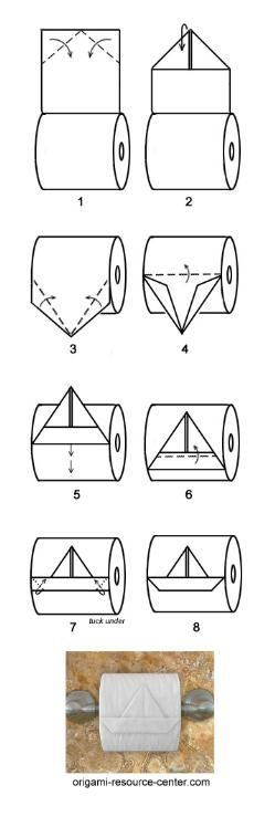 Sailboat toilet paper origami