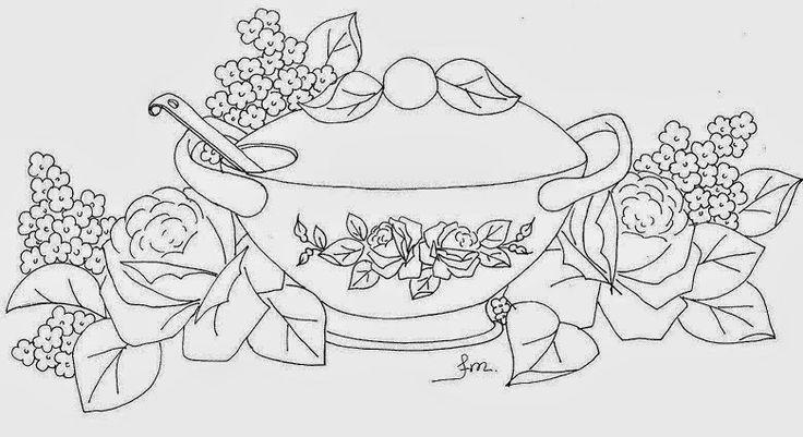 Pintura em Tecido Passo a Passo: Pintura em tecido Sopeira com rosas