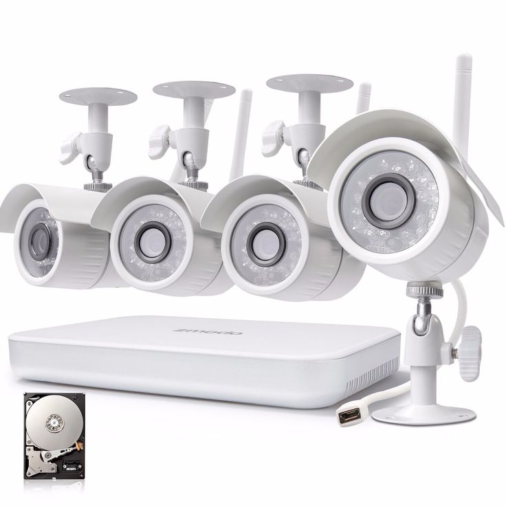Zmodo 4CH NVR 1280720p HD Outdoor Wireless Home Security Camera System 500GB