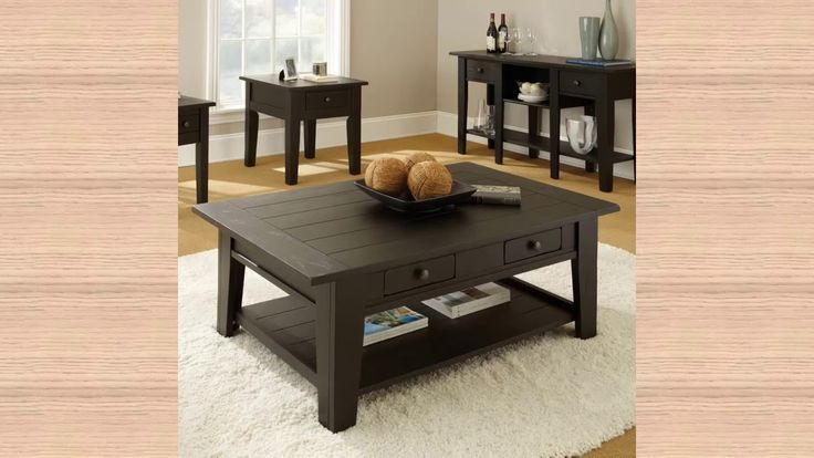 Black Square Coffee Table with Storage - HQdecoration.com