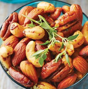 Sweet and Spicy Nut Medley is addicting. Use unsalted mixed nuts. If you can't find them, simply pour the salted nuts into a colander and gently shake over the sink. Most of the salt should shake off.