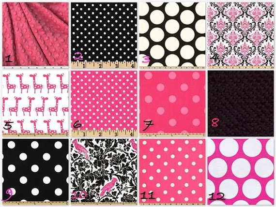 Hot pink and Black Crib bedding