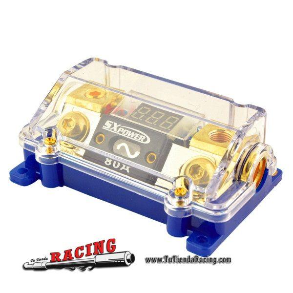 21,3€ - ENVÍO SIEMPRE GRATUITO - Caja Portafusibles 80A ANL con 1 Entrada 2 Salidas con Voltímetro Sistemas Audio Amplificador Coche - TUTIENDARACING