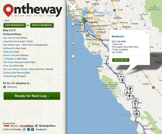 OnTheWay Road Trip Planner:  find fun stuff to do en route to your final location