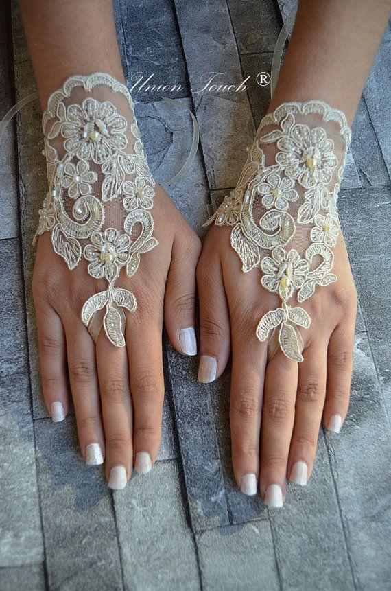 Guantes de Novia de encaje Champagne oro francés encaje guantes guantes de novia guantes sin dedos de champagne encaje guantes barco gratis