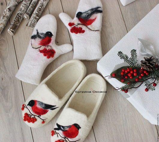 """Обувь ручной работы. Ярмарка Мастеров - ручная работа. Купить """"Снегири"""" комплект валяный. Handmade. Белый, снегирь, подарок 2017"""