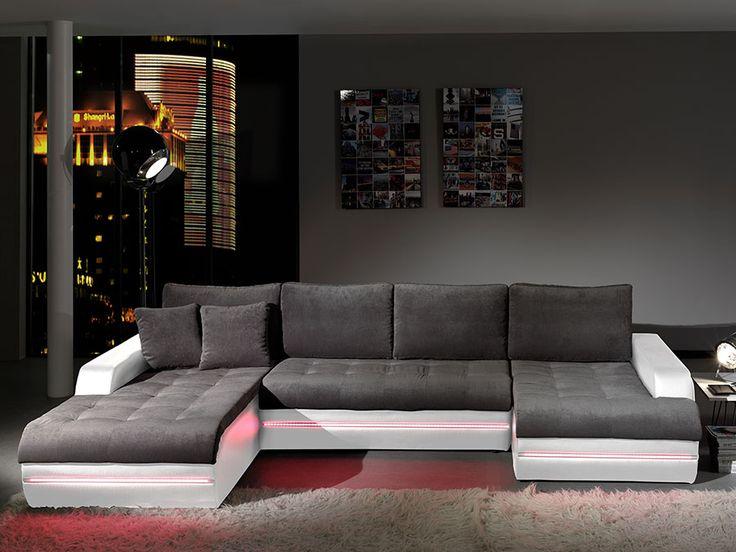 Canape Dangle Design En Tissu Gris Et Pvc Blanc Horus Avec Eclairage Led Multicolore Maison Pinterest Convertible