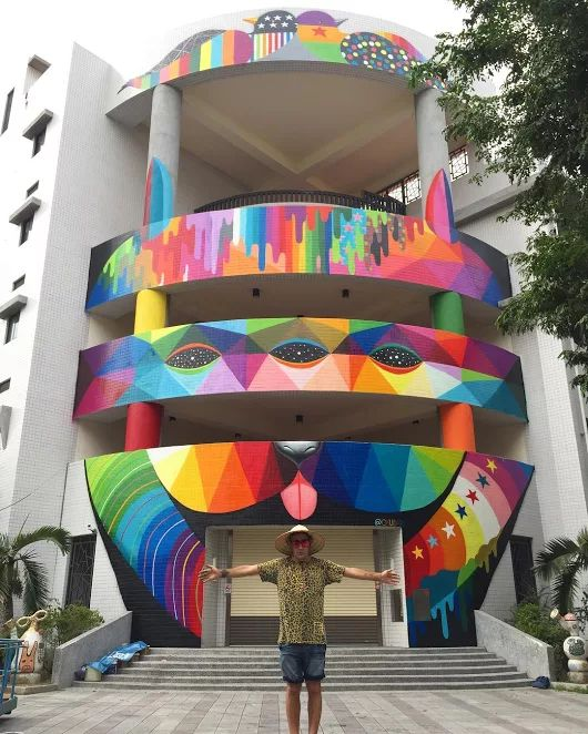 """""""3rd eye dog"""" by Okuda for The Wallriors in Kaohsiung, Taiwan"""