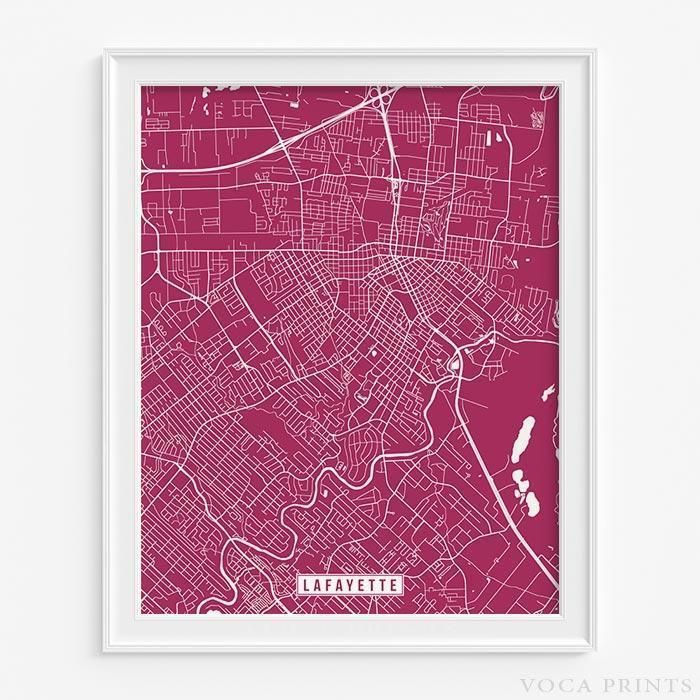 Lafayette louisiana street map print 199 best