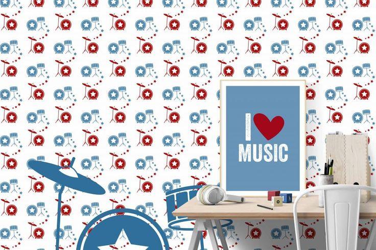 Behang muziek met drumstel rood blauw - Tinkle&Cherry