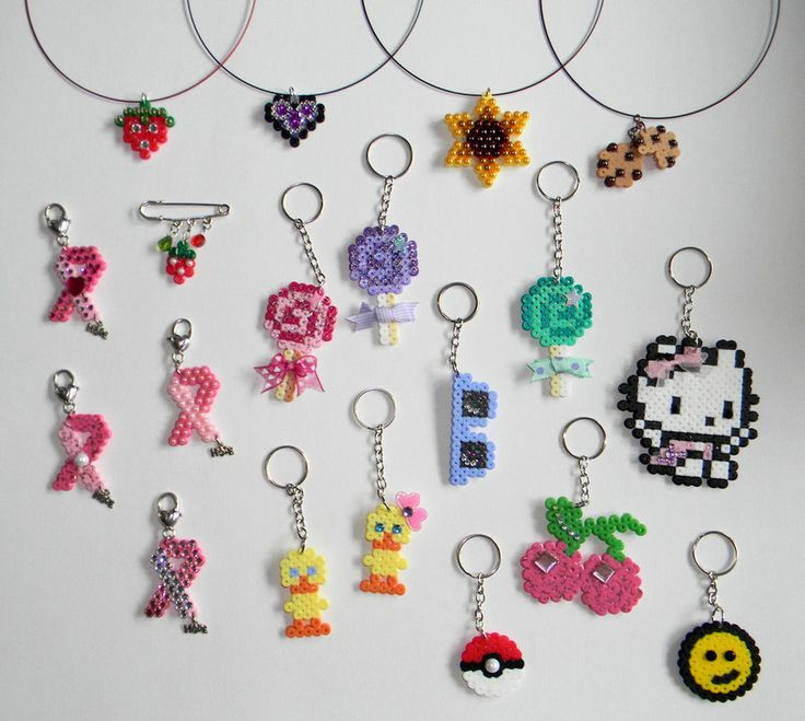 Hama/Perler Beads necklaces and keychains by JadeDragonne on deviantart