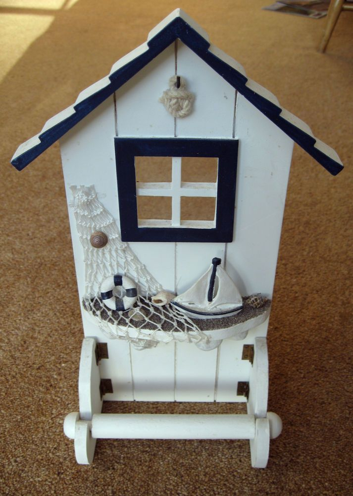 Novelty Toilet Roll Holder With Seaside Beach Hut Theme