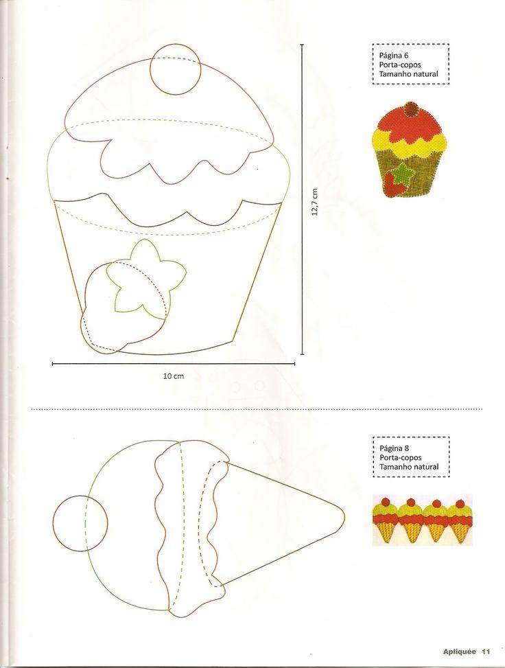 Moldes Para Artesanato em Tecido: Cupcake com Molde patchwork apliques 3/3