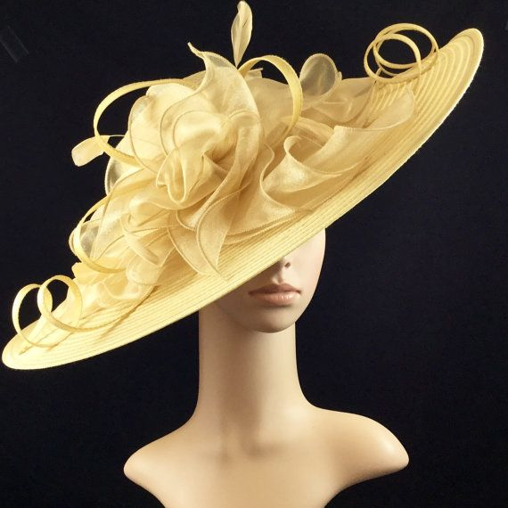 Gold Kentucky Derby HatDerby HatDress Hat Wedding Hat Wide