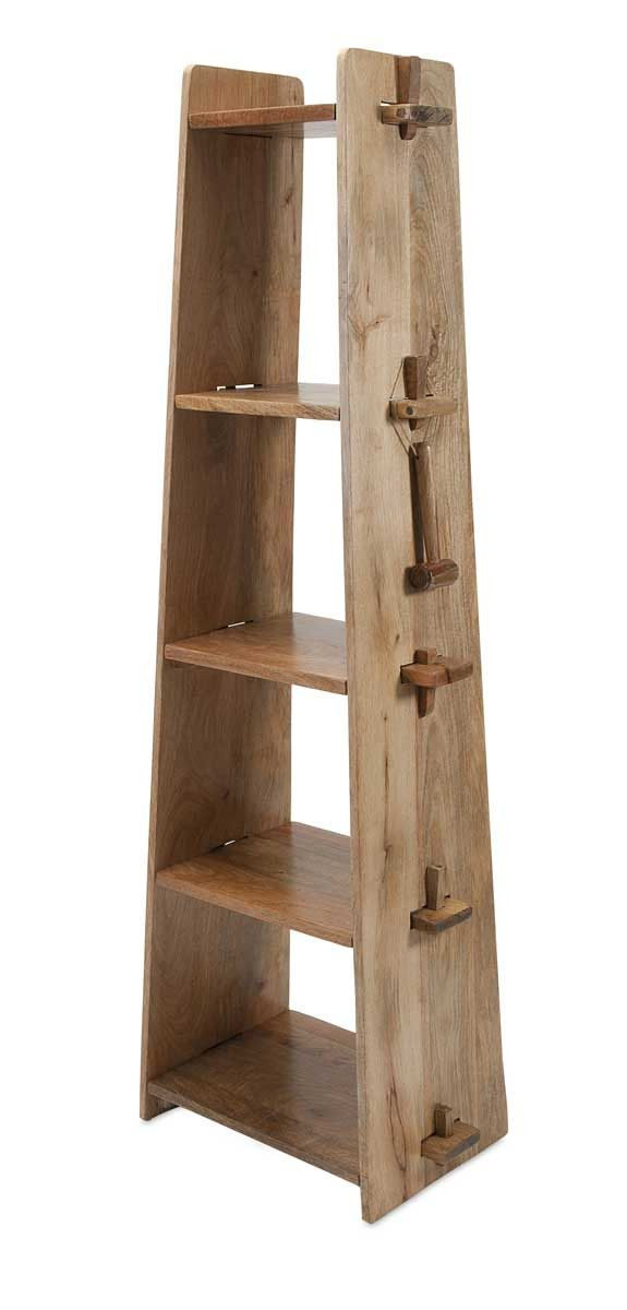 """Lean and clean: A wood shelf takes tusk-and-groove construction to another level. Product Description • Product Dimensions: 69"""" H x 24.5"""" W x 15"""" D • Product Re"""