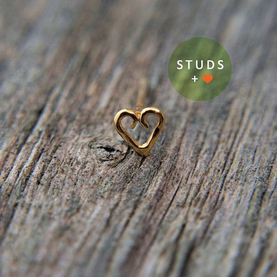 NOSE STUD /Celtic Heart/ 24K Gold plated/ Piercing/ Sterling Silver/ Tragus Ear/ Cartilage Earrings/ Nose ring/ Hoop nose/ Helix Earrings