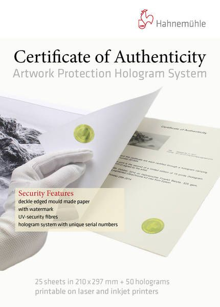 Certificate of Authenticity - Hahnemühle FineArt