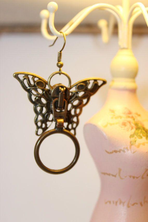 Boucles d'oreille papillons inspiration steampunk par SteampAddict, $25.00