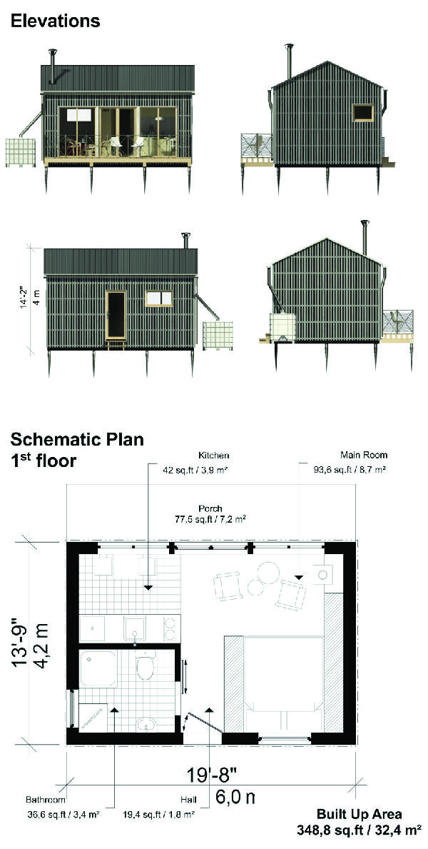 One Room Cottage Plans Cloe Cottage Plan Micro House Plans Small House Plans