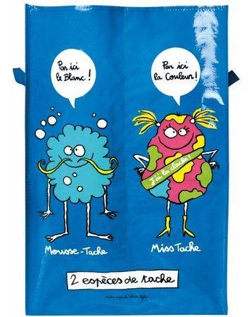 Sac à linge sale compartimenté 2 espèces de tache Mousse-Tache et Miss-Tache