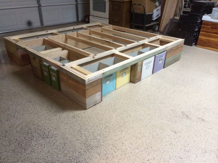 Pallet bed frame meek pinterest bed storage under for Pallet king bed frame