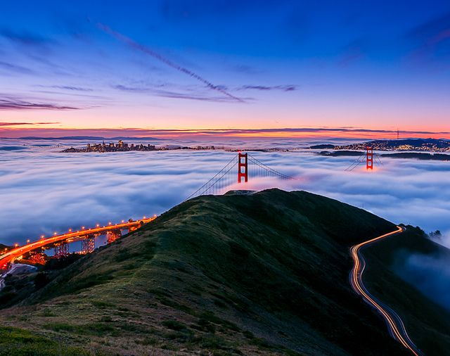 The Golden Gate Bridge from Marin.  Amplified.  [From Fancy]