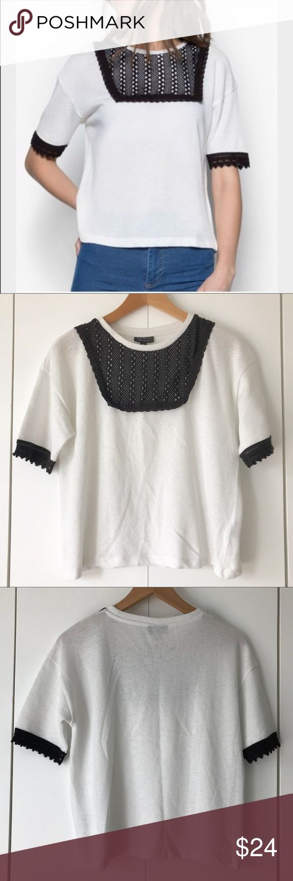 "Topshop Crochet Bib Knit Black White Knit Top Sz 8 Short sleeve top from Topshop in women's size 8. White with black crochet bib. Lightweight knit material. 19"" from armpit to armpit. 13"" from bottom of armpit to bottom of hem. Topshop Tops"