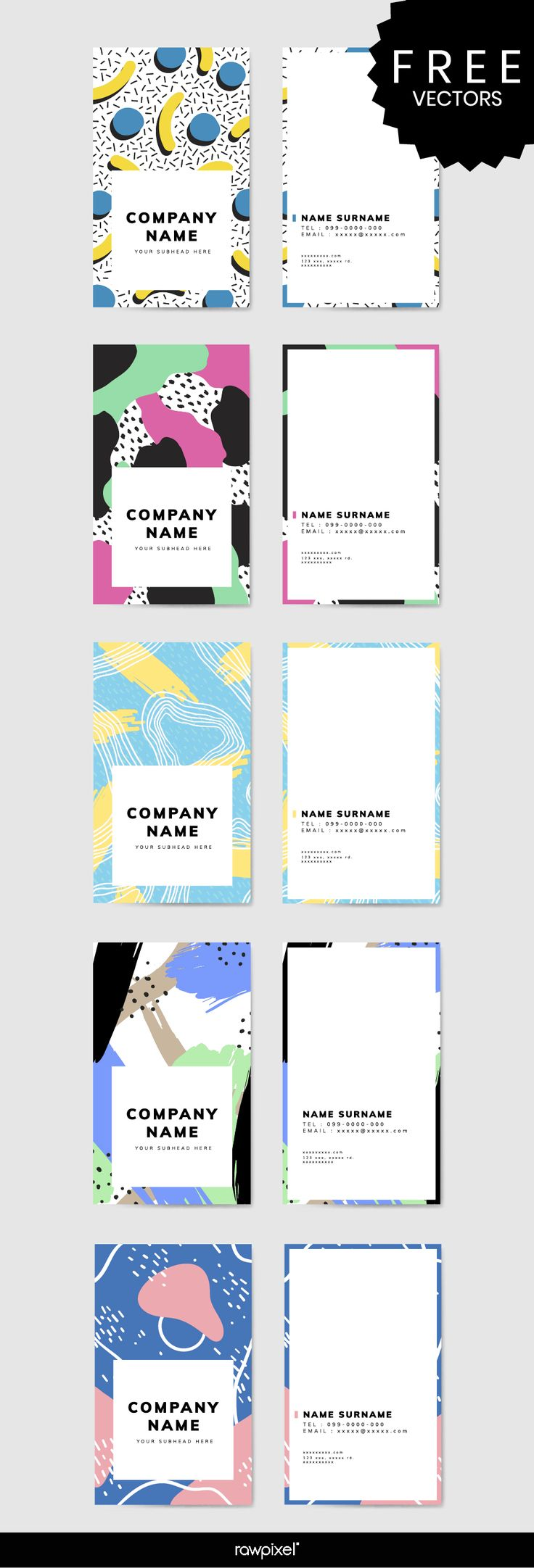 Download modern Memphis theme business card mockups and corporate identity design vectors at rawpixel.com