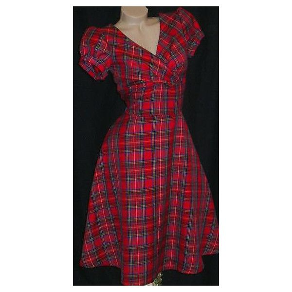 1940's dress, Tartan dress, vintage style, handmade, sizes 6-26, tea... (£58) ❤ liked on Polyvore featuring dresses, red tartan dress, christmas dresses, pleated dress, red tea dress and red dresses