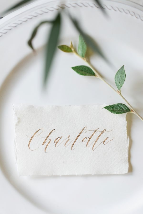 Copper calligraphy vintage escort cards: http://www.stylemepretty.com/destination-weddings/2017/02/02/ethereal-natural-wedding-inspiration/ Photography: Kibogo - http://www.kibogophotography.com/