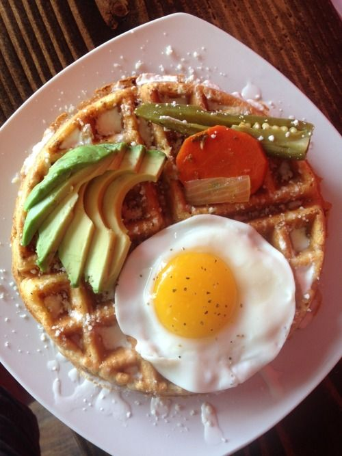 Civic Santa Ana a beautiful belgian waffle mixed with our epic chorizo and an egg avocado and our house made escabeche jalapeños