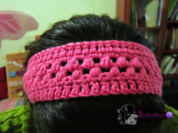 Pink Crochet Headband by EllisKnitwearShop on Etsy