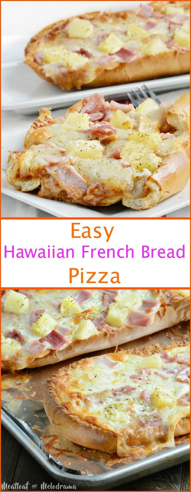 Easy Hawaiian French Bread Pizza - A quick and easy frugal dinner made with leftover ham, pineapple and tangy barbecue sauce. from Meatloaf and Melodrama