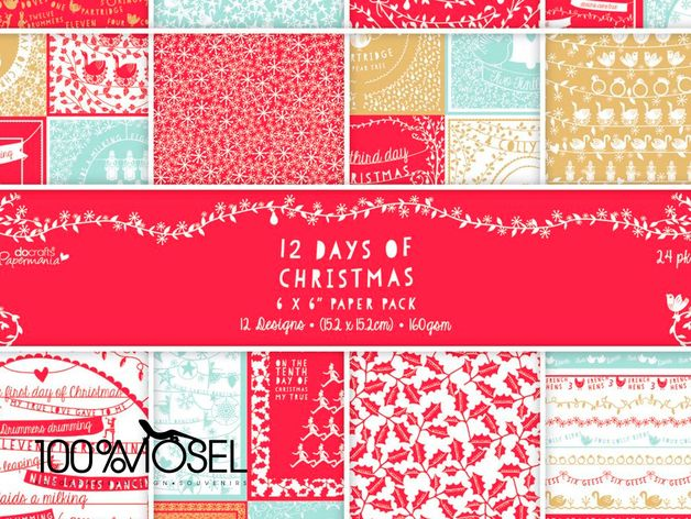 "Papermania 15,2 x 15,2 cm Papierset (24 Blatt) - 6 x 6"" Paper Pack (24pk) - 12 Days of Christmas  Scrapbooking - Papierset aus der Kollektion 12 Days of Christmas. 24 Bogen, 160g schweres Papier in..."