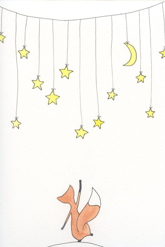Cute Little Fox Reaching for the Stars by emilieOillustration