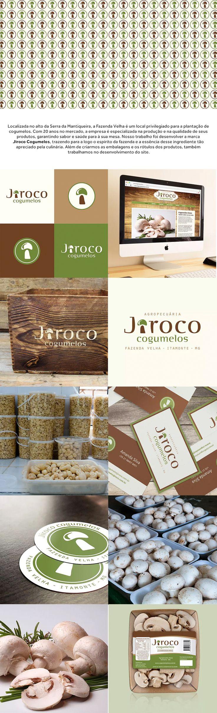 Nosso trabalho foi desenvolver a marca Jiroco Cogumelos, trazendo para a logo o espírito da fazenda e a essência desse ingrediente tão apreciado pela culinária. Além de criarmos as embalagens e os rótulos dos produtos, também trabalhamos no desenvolvimento do site.  |  logo design graphic design identidade visual branding website embalagem packaging mushroom cogumelos  |