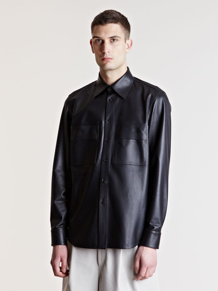 Yang Li Mens Leather Shirt in Black for Men | Lyst