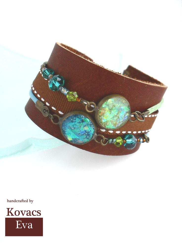 Boho leather bracelet.Green and blue bracelet,cuff.