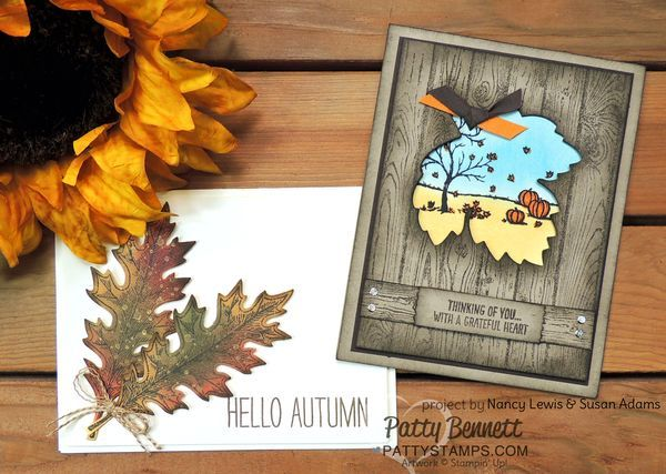 Handmade fall cards featuring Stampin' Up! Leaflet Framelits