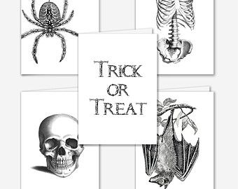 """Halloween Cards - Set of 5 - Black and White (4""""x6"""")"""