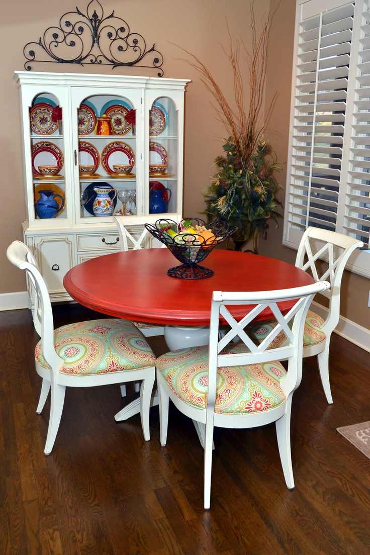 red table top white or brown legs yellow red and teal colors on cushions - Kitchen Table Cushions
