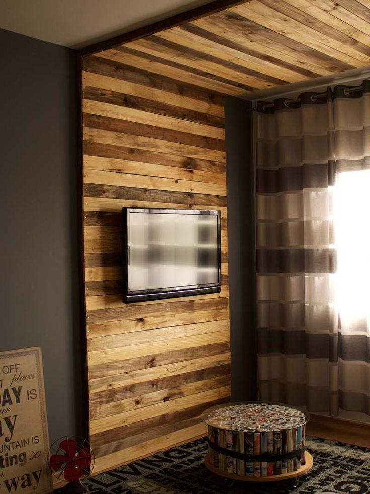 25 melhores ideias de paredes de madeira de paletes no for Salas para casas chiquitas