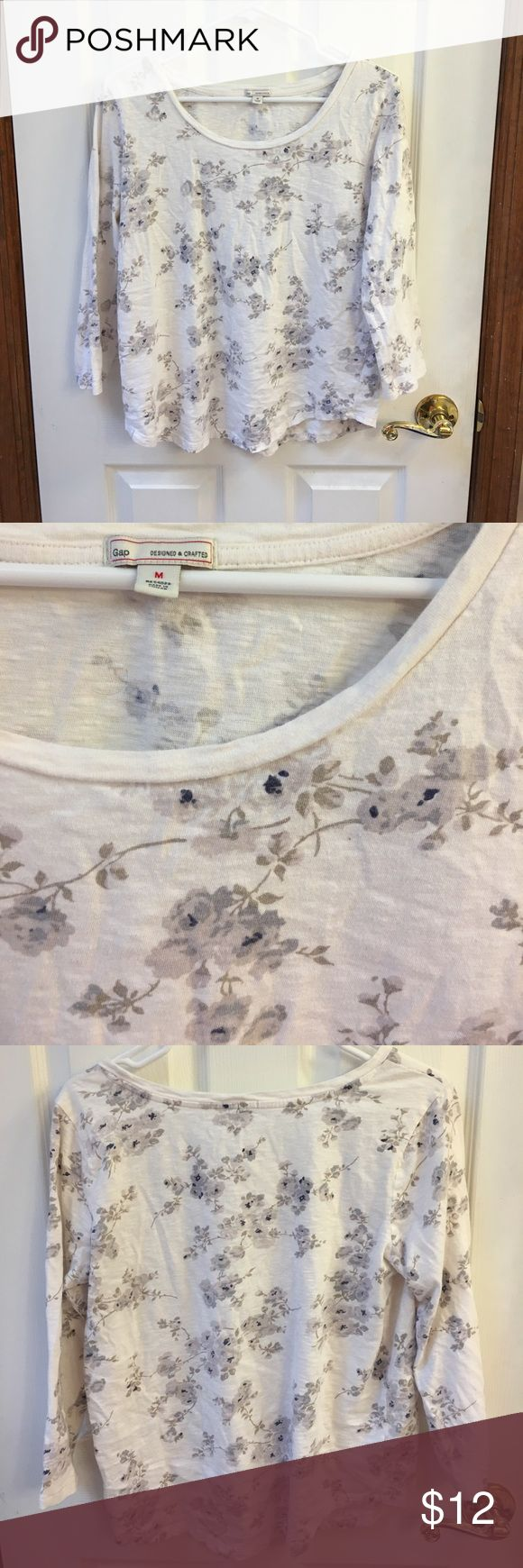 Gap cream floral tee. Gap cream tee with grey floral print. Boatneckline. 3/4 sleeves. Worn/washed and in good condition. GAP Tops Tees - Long Sleeve