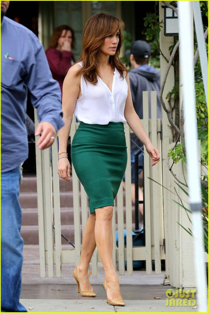 Jennifer Lopez de saia verde