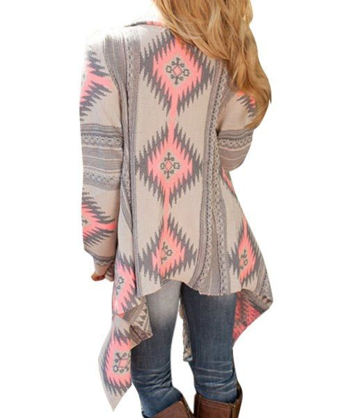 Casual Geometric Printed Long Sleeve Asymmetric Cardigan For Women made of Polyester Note: Sizes can be different depending on country. See size conversion char