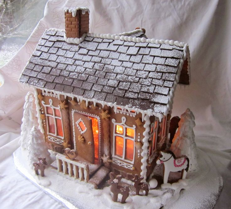 Gingerbread house- powder sugar on the roof for a dusting of snow.