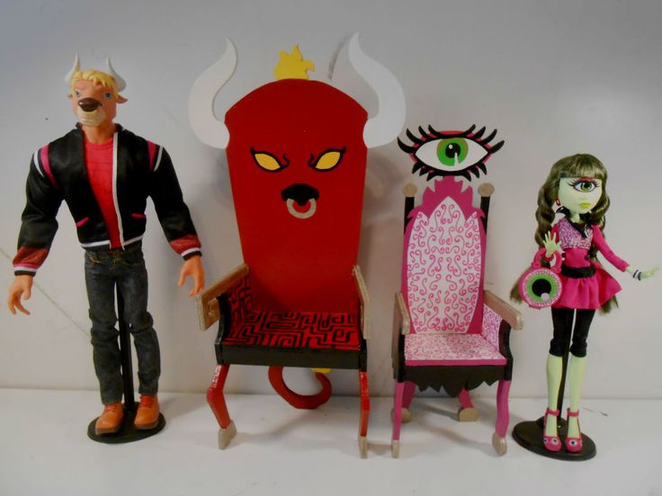 Monster High Furniture - Manny Taur & Iris Clops Throne Armchairs
